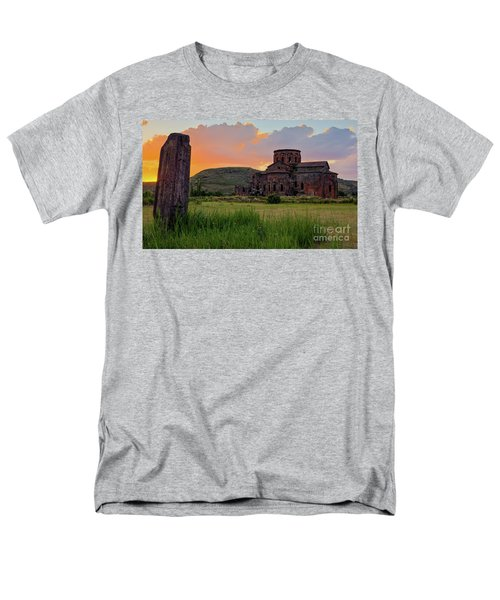 Mediaval Talin's Cathedral At Sunset With Cross Stone In Front, Armenia Men's T-Shirt  (Regular Fit) by Gurgen Bakhshetsyan