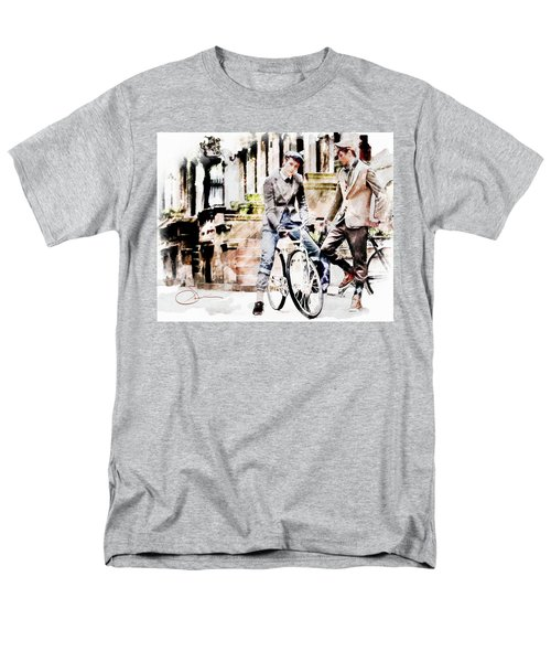 Men's T-Shirt  (Regular Fit) featuring the painting Men On Bikes by Robert Smith