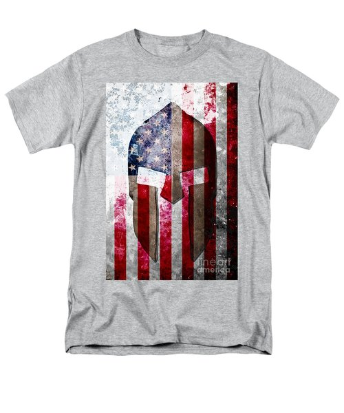 Molon Labe - Spartan Helmet Across An American Flag On Distressed Metal Sheet Men's T-Shirt  (Regular Fit) by M L C