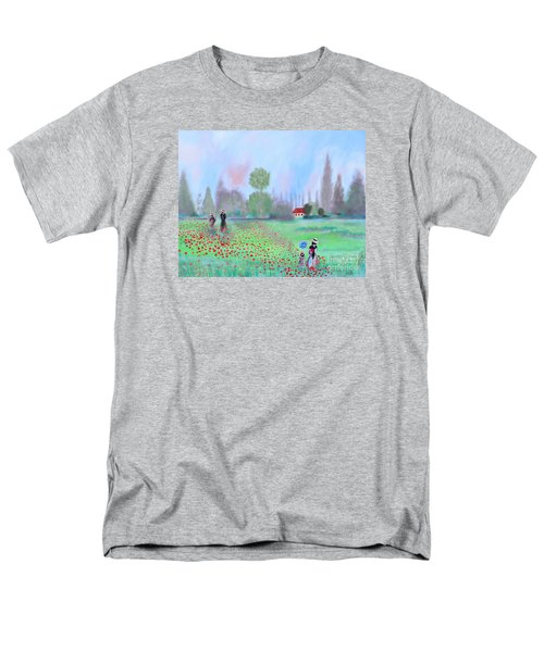 Men's T-Shirt  (Regular Fit) featuring the painting Monet's Field Of Poppies by Stacey Zimmerman