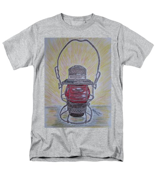 Men's T-Shirt  (Regular Fit) featuring the painting Monon Red Globe Railroad Lantern by Kathy Marrs Chandler