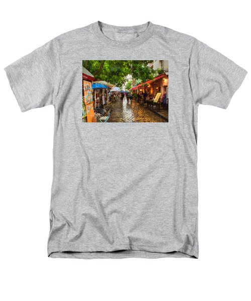 Men's T-Shirt  (Regular Fit) featuring the photograph Montmartre Art Market, Paris by Carl Amoth