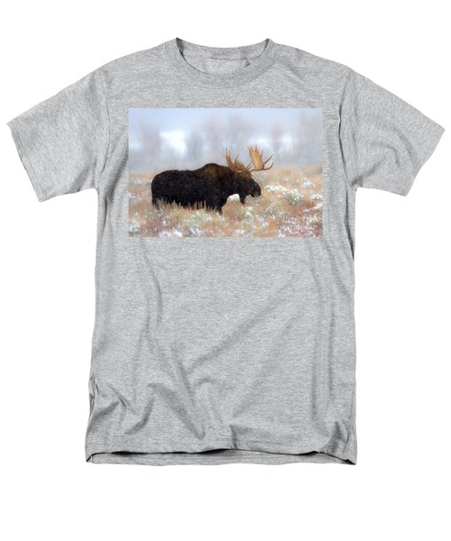 Men's T-Shirt  (Regular Fit) featuring the photograph Moose In The Fog Silhouette by Adam Jewell