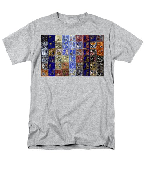 Mosaic Tile Evening Landscape. Modern Mosaic Tile Art Painting Men's T-Shirt  (Regular Fit) by Mark Lawrence