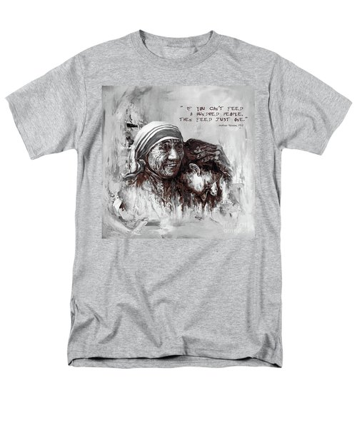 Men's T-Shirt  (Regular Fit) featuring the painting Mother Teresa Of Calcutta Portrait  by Gull G