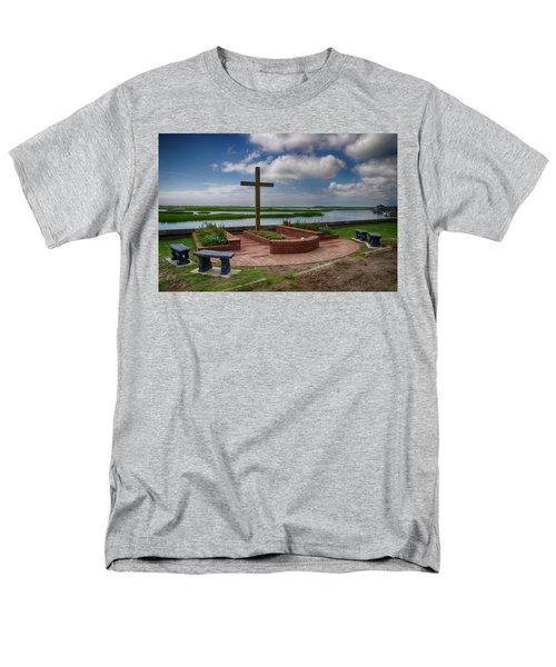 Men's T-Shirt  (Regular Fit) featuring the photograph New Garden Cross At Belin Umc by Bill Barber