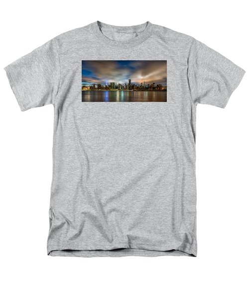 New York City Evening Skyline  Men's T-Shirt  (Regular Fit) by Rafael Quirindongo