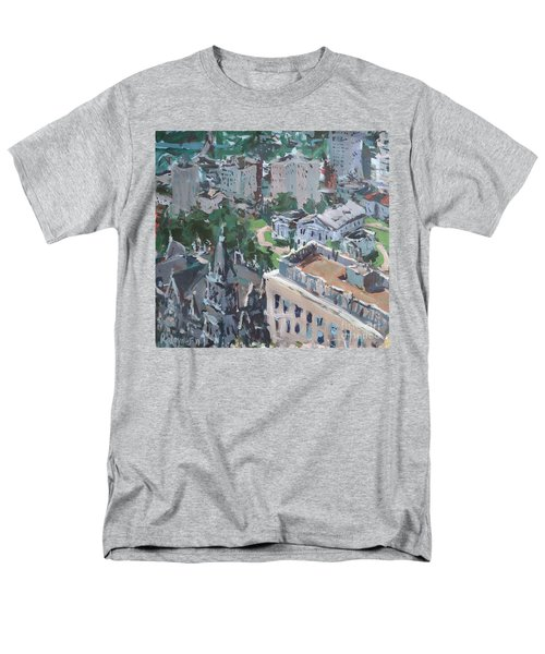 Men's T-Shirt  (Regular Fit) featuring the painting Original Contemporary Cityscape Painting Featuring Virginia State Capitol Building by Robert Joyner