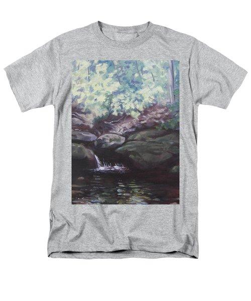 Men's T-Shirt  (Regular Fit) featuring the painting Paris Mountain Waterfall by Robert Decker