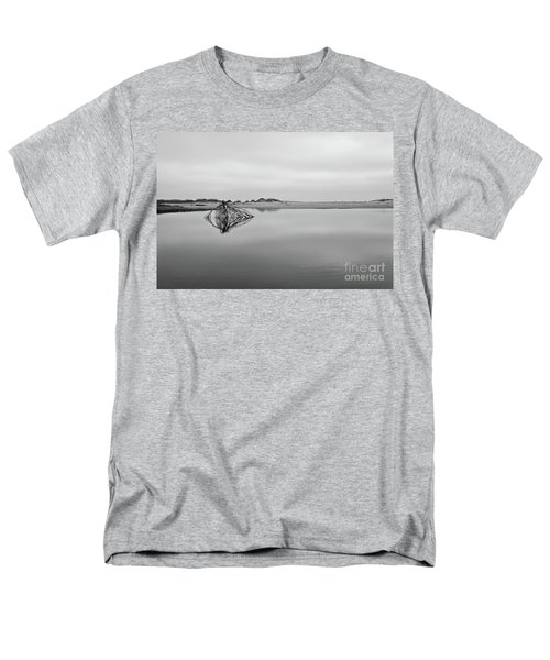 Men's T-Shirt  (Regular Fit) featuring the photograph Peaceful Tidepool On The Outer Banks Bw by Dan Carmichael