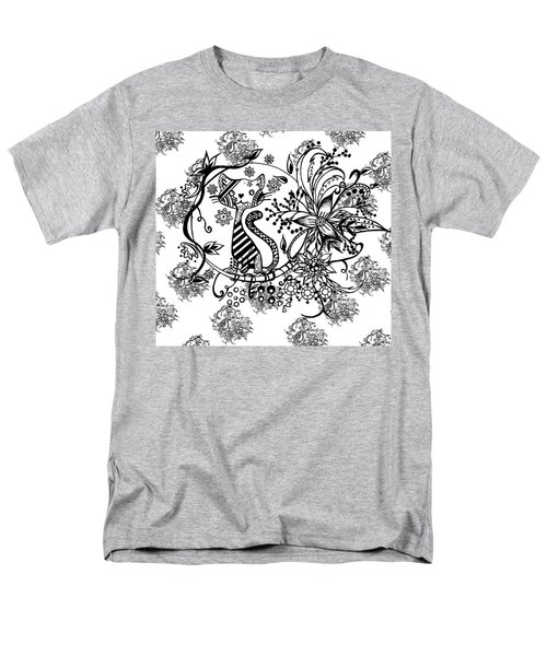 Men's T-Shirt  (Regular Fit) featuring the drawing Pen And Ink Cat Pattern Black And White by Saribelle Rodriguez