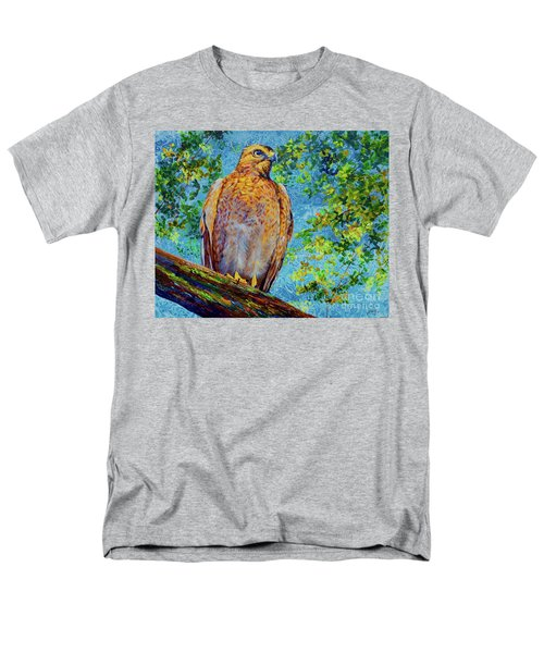 Men's T-Shirt  (Regular Fit) featuring the painting Perched Hawk by AnnaJo Vahle