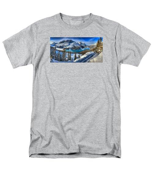 Peyto Lake Winter Panorama Men's T-Shirt  (Regular Fit) by Adam Jewell