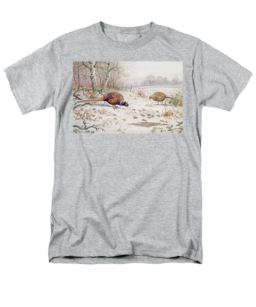 Pheasant And Partridge Eating  Men's T-Shirt  (Regular Fit) by Carl Donner