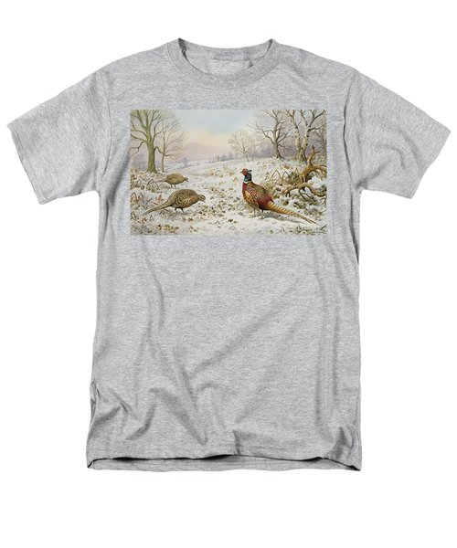 Pheasant And Partridges In A Snowy Landscape Men's T-Shirt  (Regular Fit) by Carl Donner