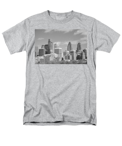 Philly Skyscrapers Black And White Men's T-Shirt  (Regular Fit) by Jennifer Ancker