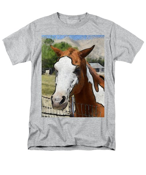 Men's T-Shirt  (Regular Fit) featuring the photograph Pinto In The Pasture Portrait  by Barbara Snyder