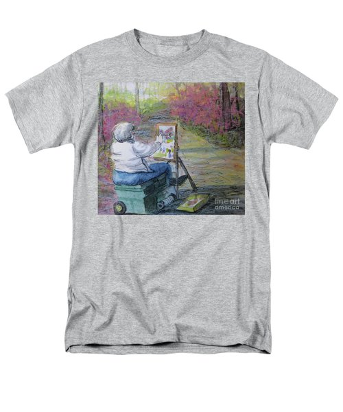 Men's T-Shirt  (Regular Fit) featuring the painting Plein-air Painter Lady by Gretchen Allen