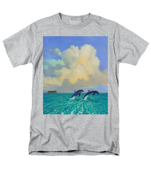 Men's T-Shirt  (Regular Fit) featuring the painting Porpoiseful Play by David  Van Hulst