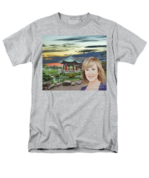 Portrait Of Jamie Colby By The Pagoda In Golden Gate Park Men's T-Shirt  (Regular Fit) by Jim Fitzpatrick