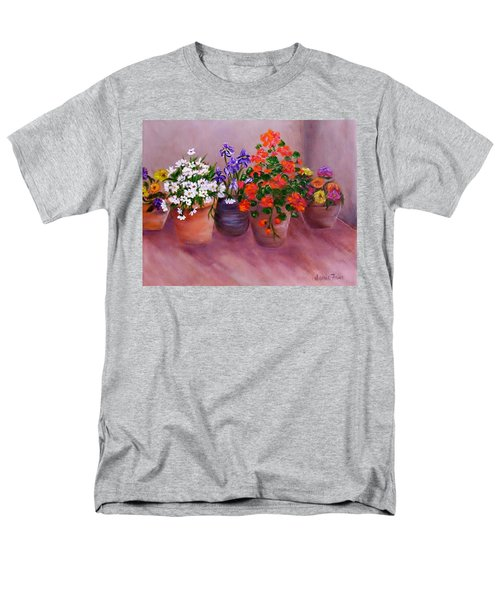 Men's T-Shirt  (Regular Fit) featuring the painting Pots Of Flowers by Jamie Frier
