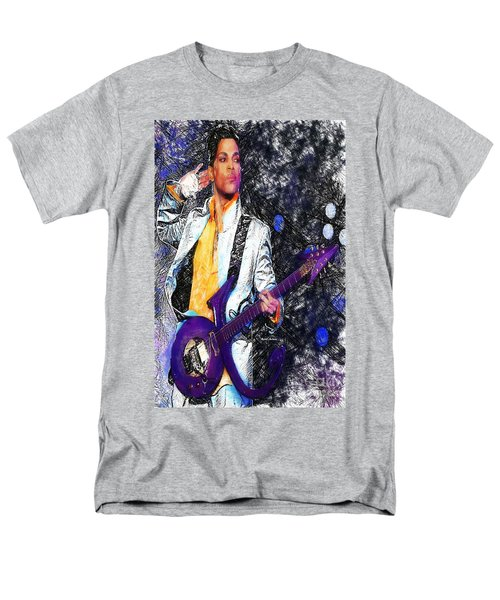 Prince - Tribute With Guitar Men's T-Shirt  (Regular Fit) by Rafael Salazar