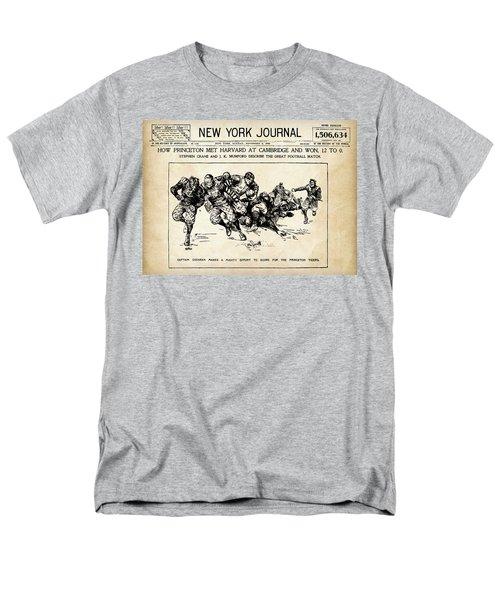Men's T-Shirt  (Regular Fit) featuring the mixed media Princeton Vs Harvard - New York Journal 1896 by Daniel Hagerman