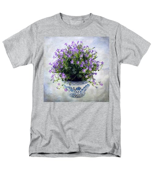 Men's T-Shirt  (Regular Fit) featuring the photograph Purple Flowers In Pot by Catherine Lau