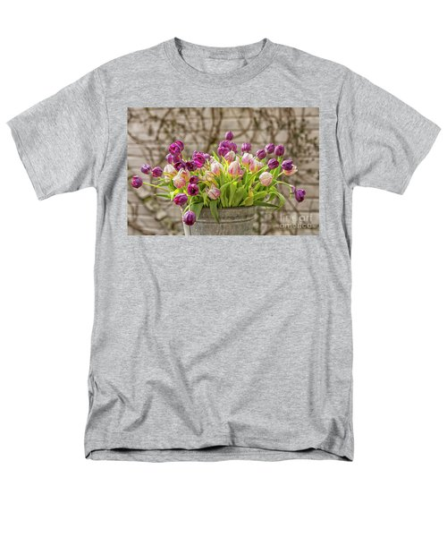 Men's T-Shirt  (Regular Fit) featuring the photograph Purple Tulips In A Bucket by Patricia Hofmeester