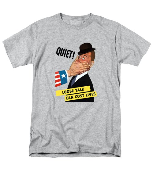Men's T-Shirt  (Regular Fit) featuring the painting Quiet - Loose Talk Can Cost Lives  by War Is Hell Store