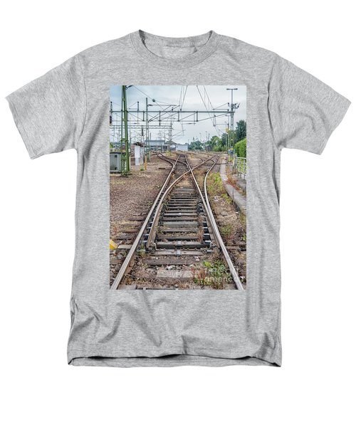 Men's T-Shirt  (Regular Fit) featuring the photograph Railroad Tracks And Junctions by Antony McAulay