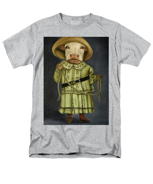 Men's T-Shirt  (Regular Fit) featuring the painting Real Cowgirl 2 by Leah Saulnier The Painting Maniac