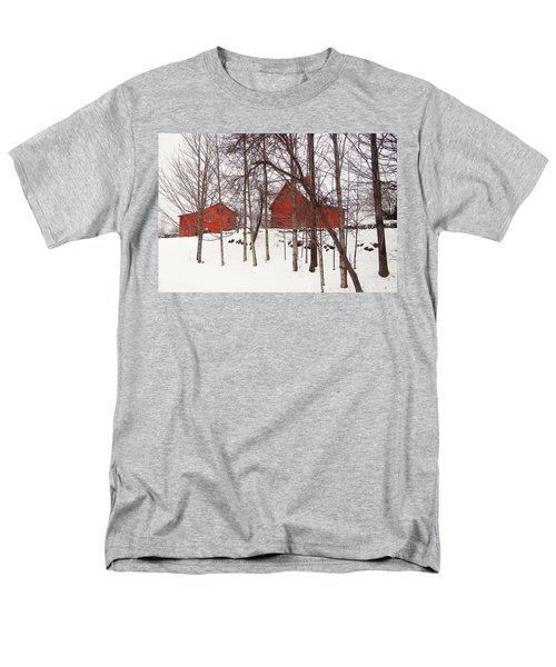 Red Barns Men's T-Shirt  (Regular Fit) by Betsy Zimmerli