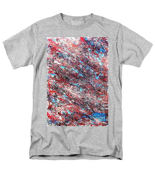 Men's T-Shirt  (Regular Fit) featuring the painting Red White Blue And Black Drip Abstract by Genevieve Esson