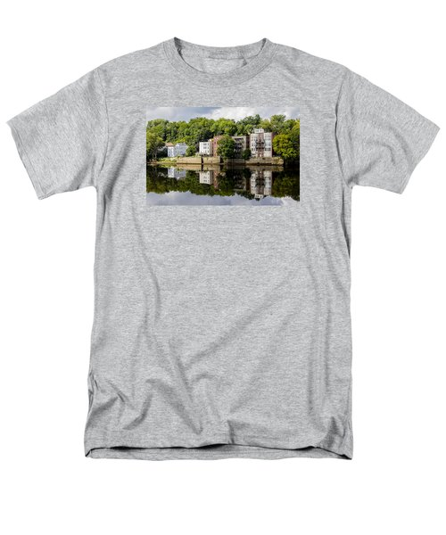 Men's T-Shirt  (Regular Fit) featuring the photograph Reflections Of Haverhill On The Merrimack River by Betty Denise
