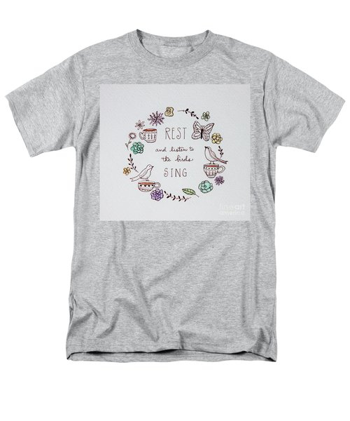 Rest And Listen To The Birds Sing Men's T-Shirt  (Regular Fit) by Elizabeth Robinette Tyndall