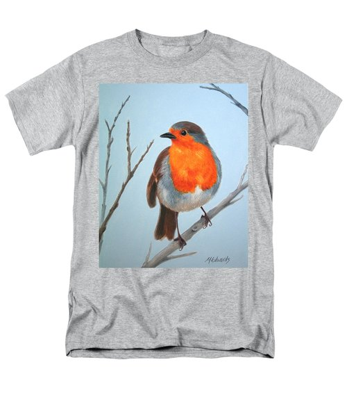 Men's T-Shirt  (Regular Fit) featuring the painting Robin In The Tree by Marna Edwards Flavell
