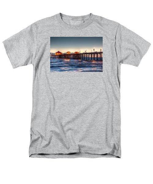 Men's T-Shirt  (Regular Fit) featuring the photograph Ruby's Surf City Diner At Twilight - Huntington Beach Pier by Jim Carrell