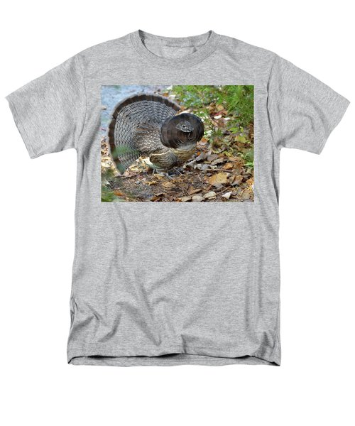 Ruffed Up- Ruffed Grouse Displaying Men's T-Shirt  (Regular Fit) by David Porteus