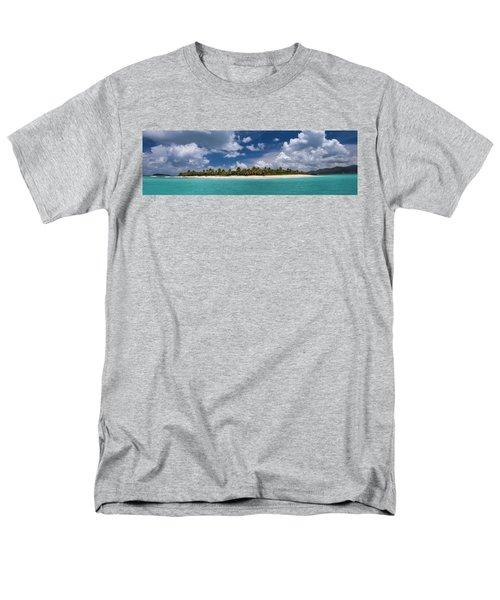 Men's T-Shirt  (Regular Fit) featuring the photograph Sandy Cay Beach British Virgin Islands Panoramic by Adam Romanowicz