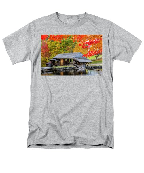 Sawmill Reflection, Autumn In New Hampshire Men's T-Shirt  (Regular Fit) by Betty Denise