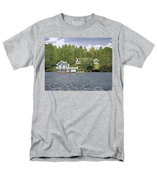 Men's T-Shirt  (Regular Fit) featuring the painting Schultz Summer Home Muskoka by Kenneth M Kirsch