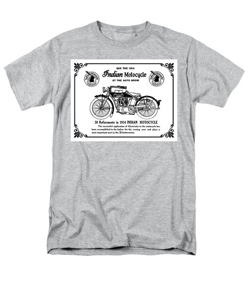 Men's T-Shirt  (Regular Fit) featuring the mixed media See New 1914 Indian Motocycle At The Auto Show by Daniel Hagerman