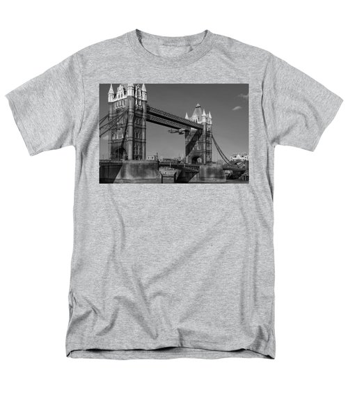 Men's T-Shirt  (Regular Fit) featuring the photograph Seven Seconds - The Tower Bridge Hawker Hunter Incident Bw Versio by Gary Eason