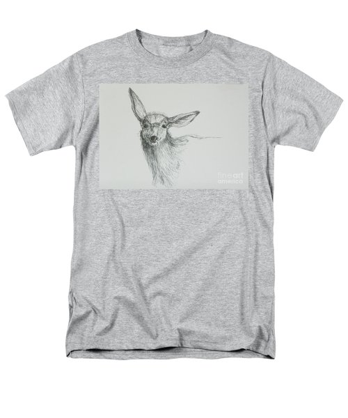 Sketch Of A Mule Deer Doe Men's T-Shirt  (Regular Fit) by Dawn Senior-Trask