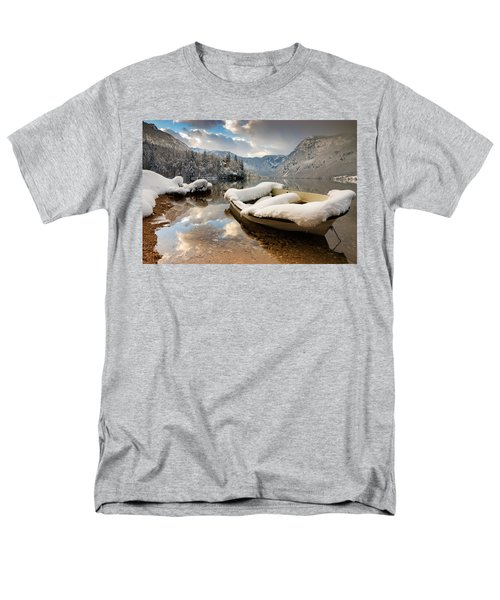 Snow Covered Boat On Lake Bohinj In Winter Men's T-Shirt  (Regular Fit) by Ian Middleton