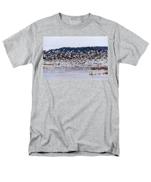 Snow Geese At Squaw Creek Men's T-Shirt  (Regular Fit) by Edward Peterson