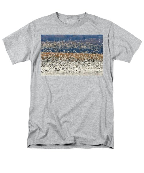 Men's T-Shirt  (Regular Fit) featuring the photograph Snow Geese At Willow Point by Lois Bryan