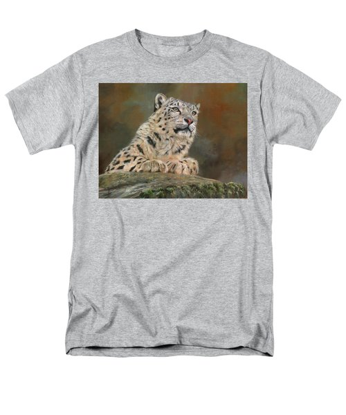 Snow Leopard On Rock Men's T-Shirt  (Regular Fit) by David Stribbling