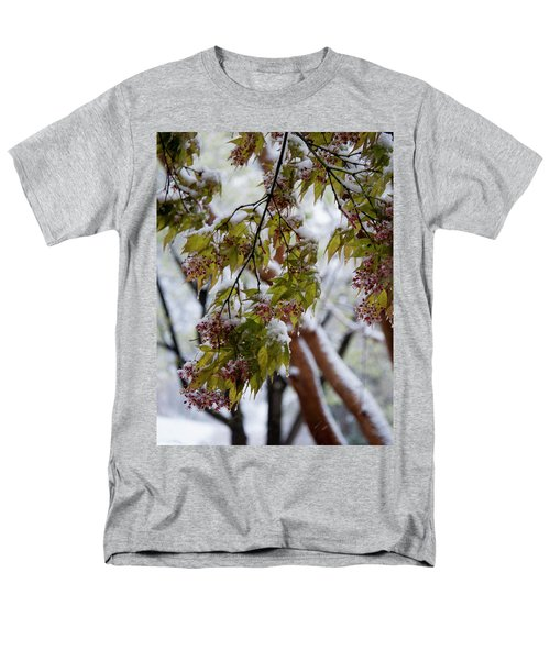 Men's T-Shirt  (Regular Fit) featuring the photograph snow on the Cherry blossoms by Chris Flees